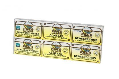 blister 6 latas almeja mejillones berberecho