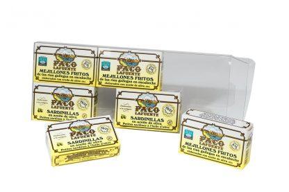 blister 6 latas mejillones sardinilla