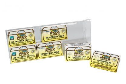 blister 6 latas mejillones sardinilla berberecho
