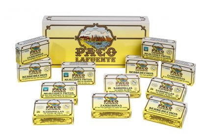 caja 12 latas mejillones berberecho zamburiñas sardinilla