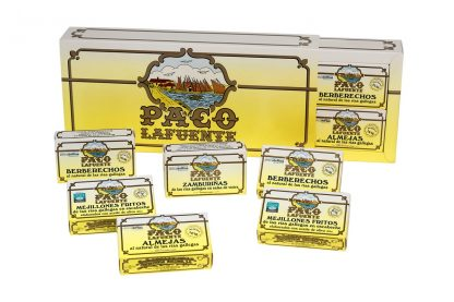 caja 12 latas mejillones sardinilla almeja berberecho